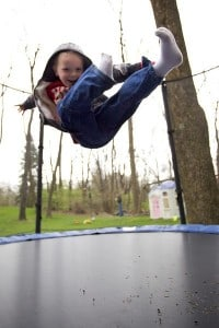 A trampoline is a fun strength training tool for kids