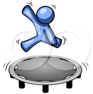 Blueman performing split jumps on a JumpSport Fitness trampoline