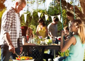 Families at a backyard party