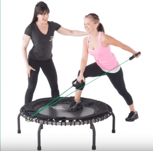 Resistance Bands on a JumpSport® fitness trampoline.