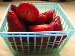 Strawberries for strawberry flax smoothie