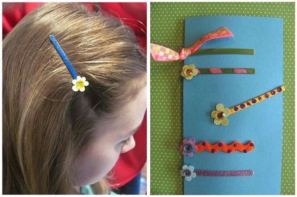 Decorated Bobby pin with flower design
