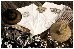Sun protective clothing includes a wide brimmed hat