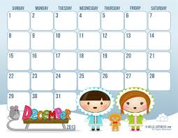 December 2013 Calendar for Christmas Staycation