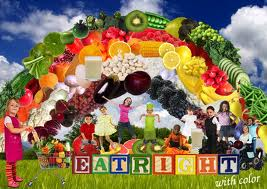 EatRight with color showing fruit rainbow and children
