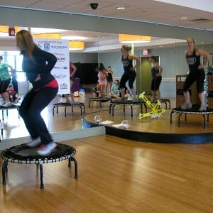 Women doing a JumpSport Fitness trampoline workout