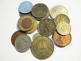 Pile of rare old foreign coins