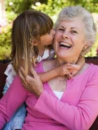 Grandmother celebrating Valentines Day with Granddaughter