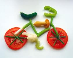 Creative edible bicycle shape made from several vegetables