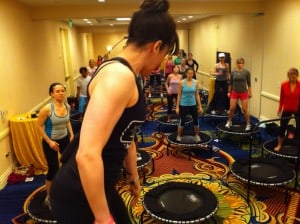 Abbie Appel and the JumpSport Fitness Trampoline class at FitBloggin' 11