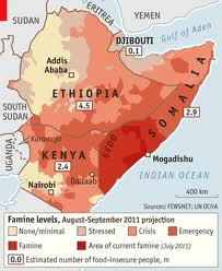 African famine levels map 2011 projections