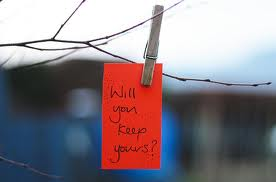New Years resolution attached to branch with a clothespin