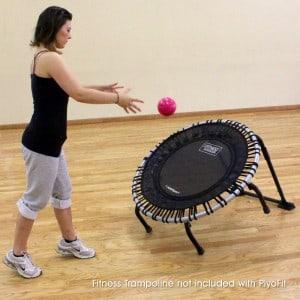 Trainer using the Plyo Kit for JumpSport Fitness trampoline