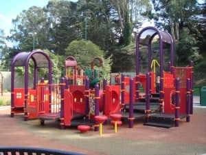 Traditional kids playground in park
