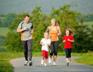 Family running together as an outdoor activity