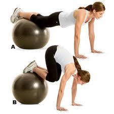 Swiss ball jackknife exercise