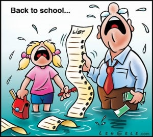 Back to school list cartoon