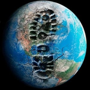 Earth with giant boot print symbolizing a carbon footprint