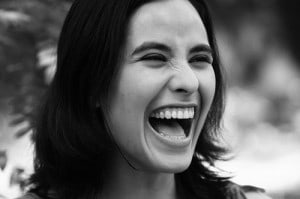 Woman laughing while it hurts