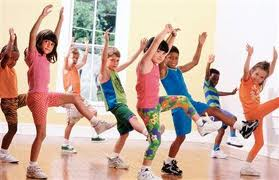 Group of kids exercising in a fitness class