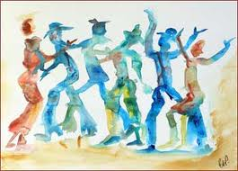 HoeDown watercolor painting of western silhouettes dancing