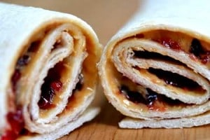 Kid friendly peanut butter and jelly wrap
