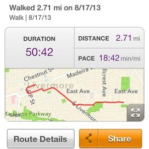 MapMyWalk Route saturday Livermore