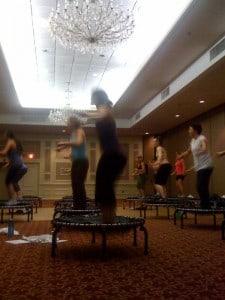 Boston fitness class using JumpSport Fitness trampolines