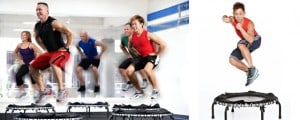 Men exercising on JumpSport Fitness trampolines